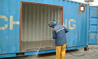 四日市海運のこだわり、外壁サンドブラスト処理